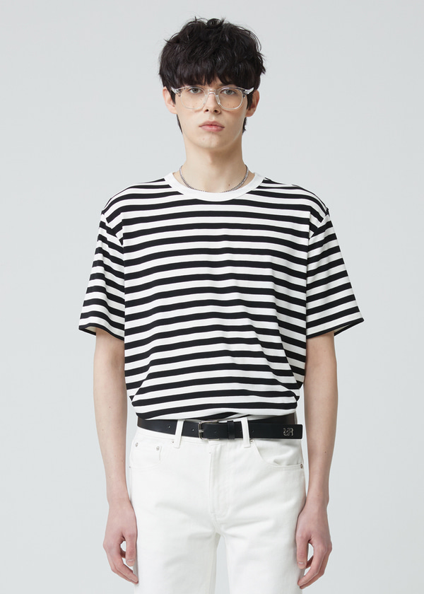 STRIPE HALF SLEEVE T-SHIRT BLACK