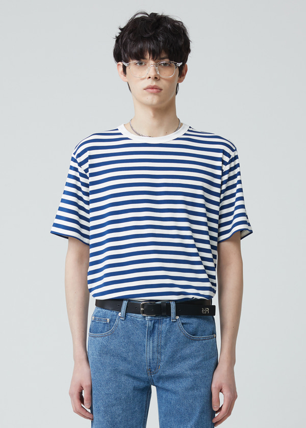 STRIPE HALF SLEEVE T-SHIRT BLUE