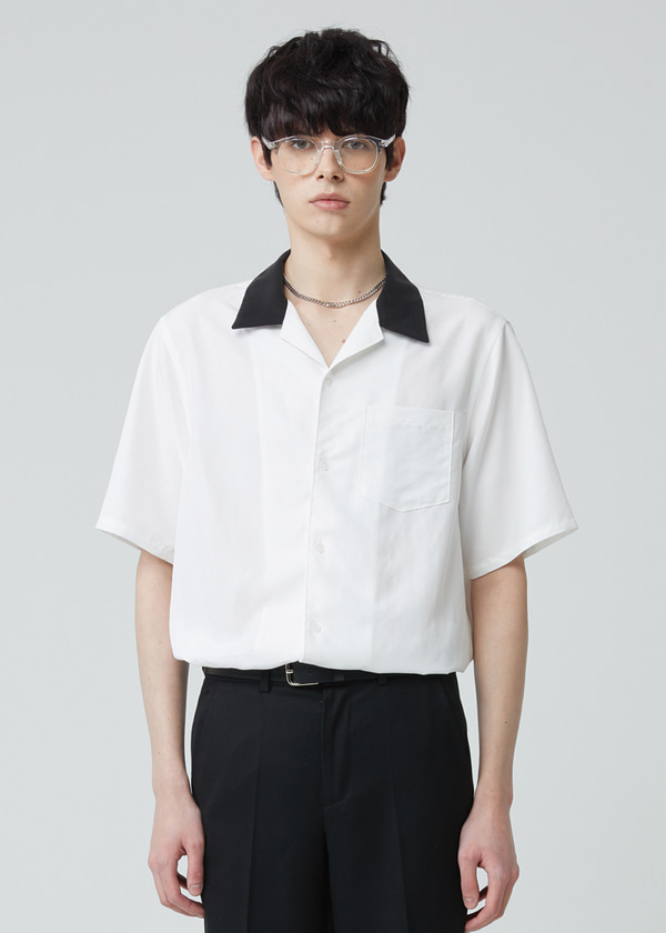 COMBINATION OPEN COLLAR HALF SHIRT IVORY