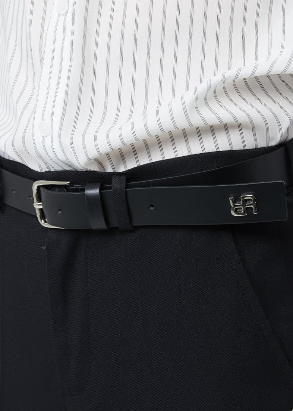 MONOGRAM LEATHER BELT BLACK