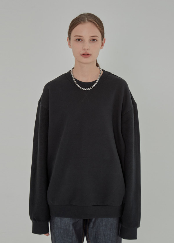 INSIDE OUT HEAVY SWEAT SHIRT BLACK