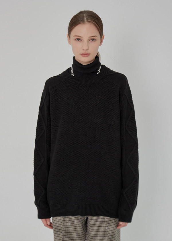 RAGLAN CABLE COMBINATION SWEATER BLACK