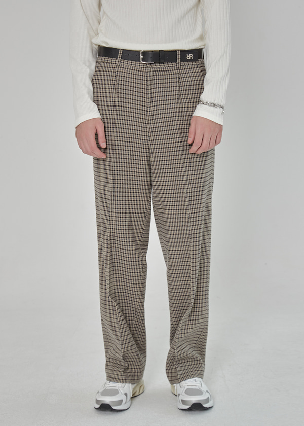 ONE TUCK WOOL WIDE PANTS CHECK