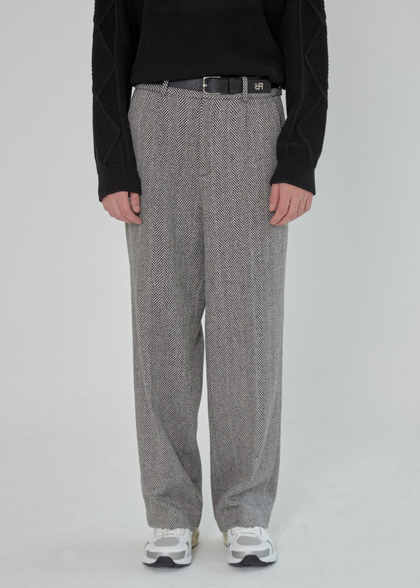 HERRINGBONE ONE TUCK WOOL WIDE PANTS BLACK