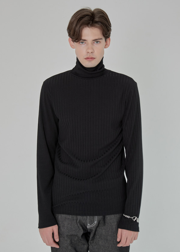 MIX RIB TURTLE NECK KNIT BLACK