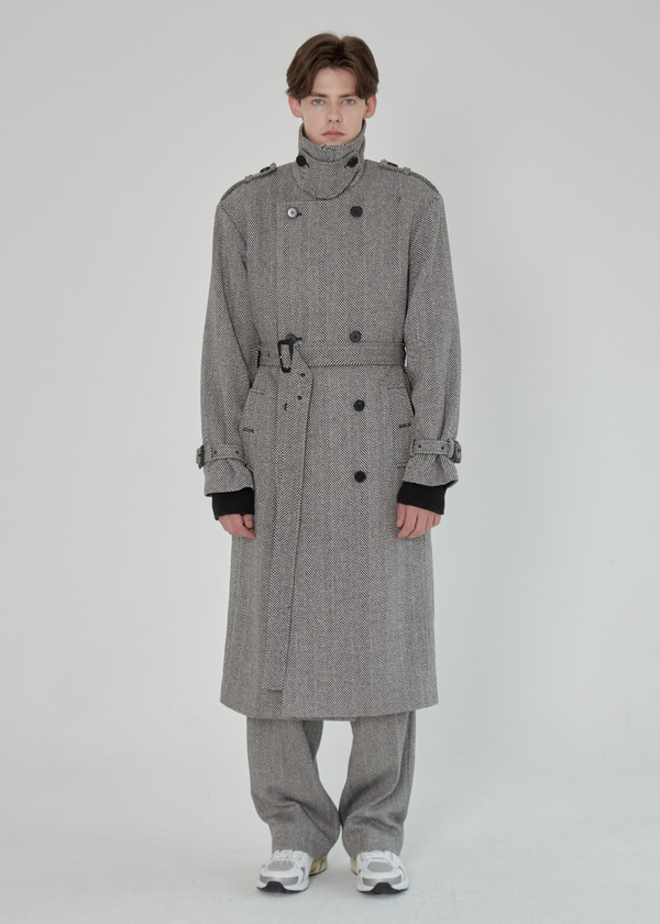 HERRINGBONE WOOL TRENCH COAT BLACK