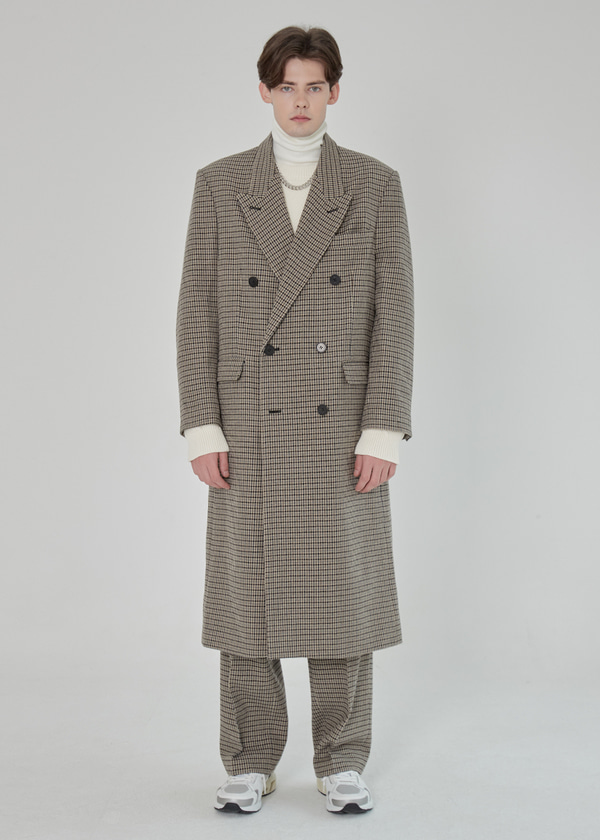 DOUBLE BREASTED WOOL LONG COAT CHECK