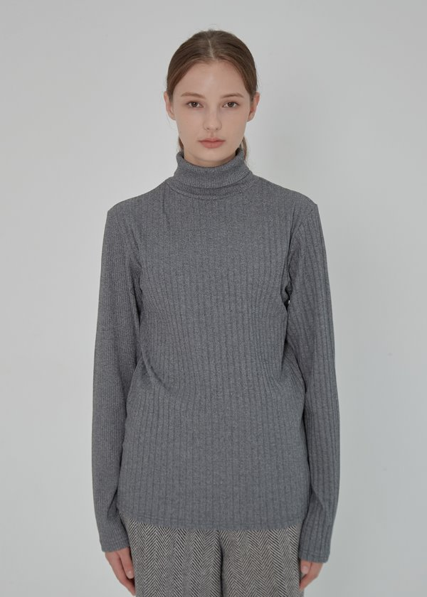 MIX RIB TURTLE NECK KNIT GRAY