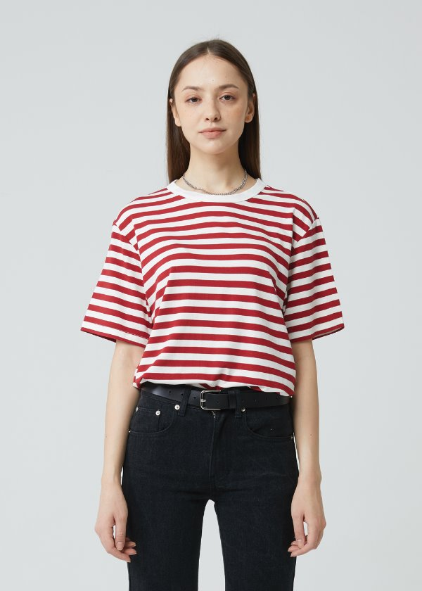 STRIPE HALF SLEEVE T-SHIRT RED
