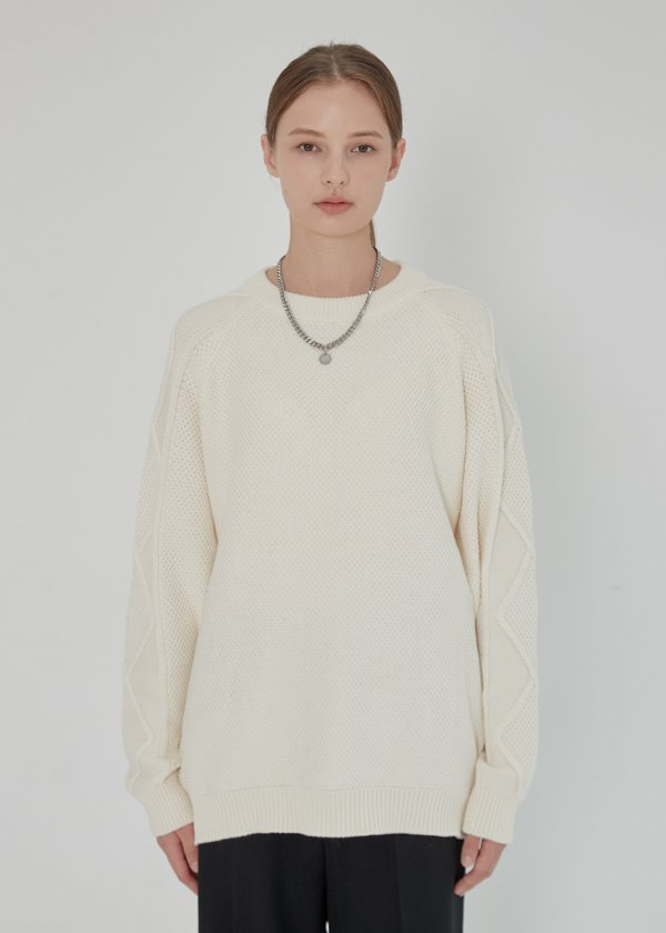 RAGLAN CABLE COMBINATION SWEATER IVORY