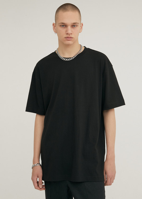 HALF SLEEVE CREW NECK T-SHIRT BLACK