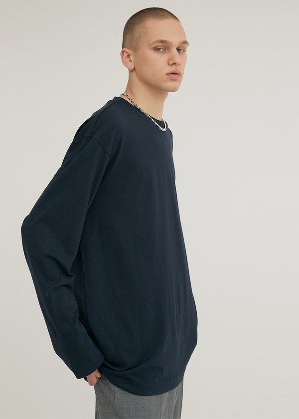 LONG SLEEVE CREW NECK T-SHIRT NAVY