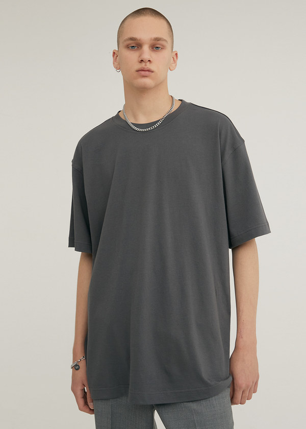 HALF SLEEVE CREW NECK T-SHIRT DARK GRAY