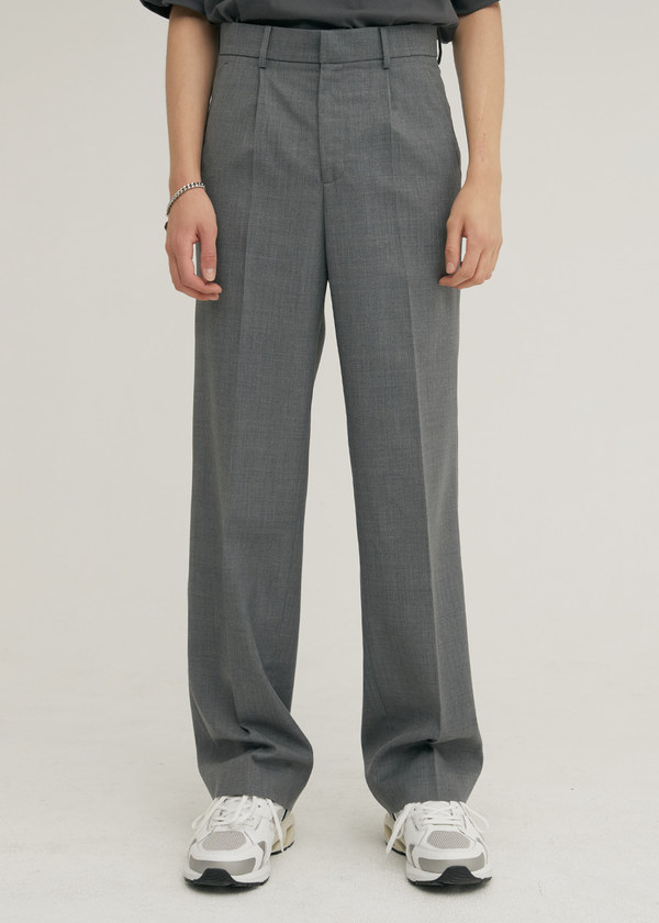 TAILORED WOOL SEMI WIDE PANTS GRAY