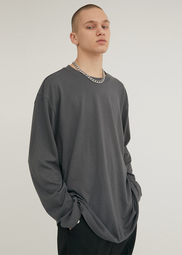 LONG SLEEVE CREW NECK T-SHIRT DARK GRAY
