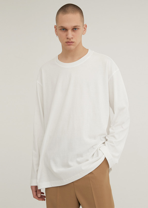 LONG SLEEVE CREW NECK T-SHIRT IVORY