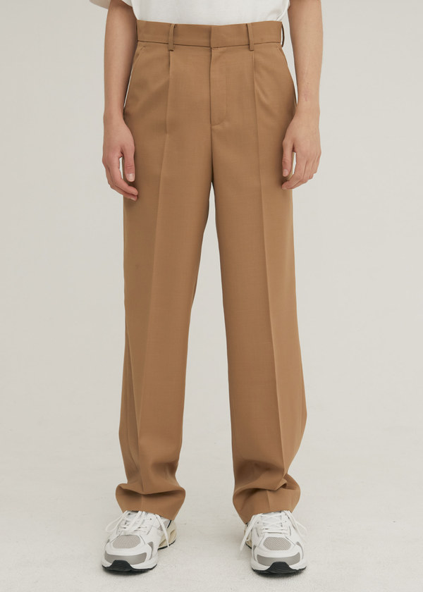 TAILORED WOOL SEMI WIDE PANTS BEIGE