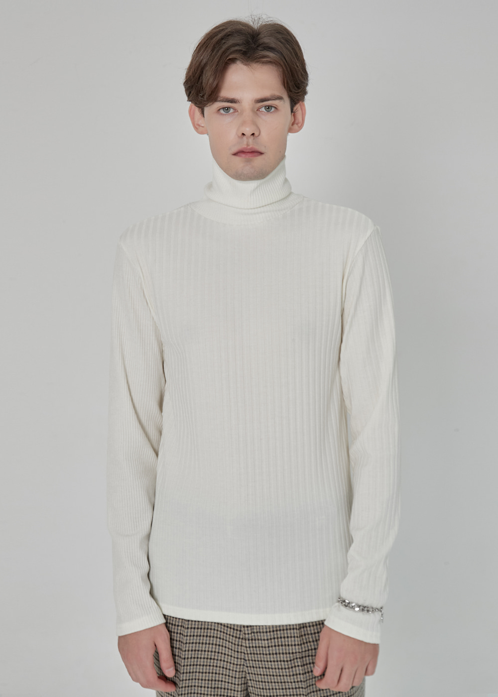 MIX RIB TURTLE NECK KNIT IVORY