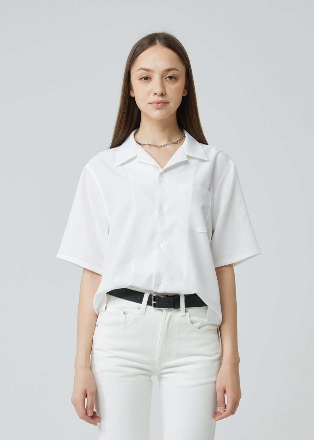 SOLID OPEN COLLAR HALF SHIRT IVORY