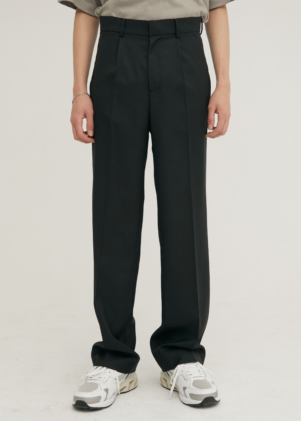 TAILORED WOOL SEMI WIDE PANTS BLACK