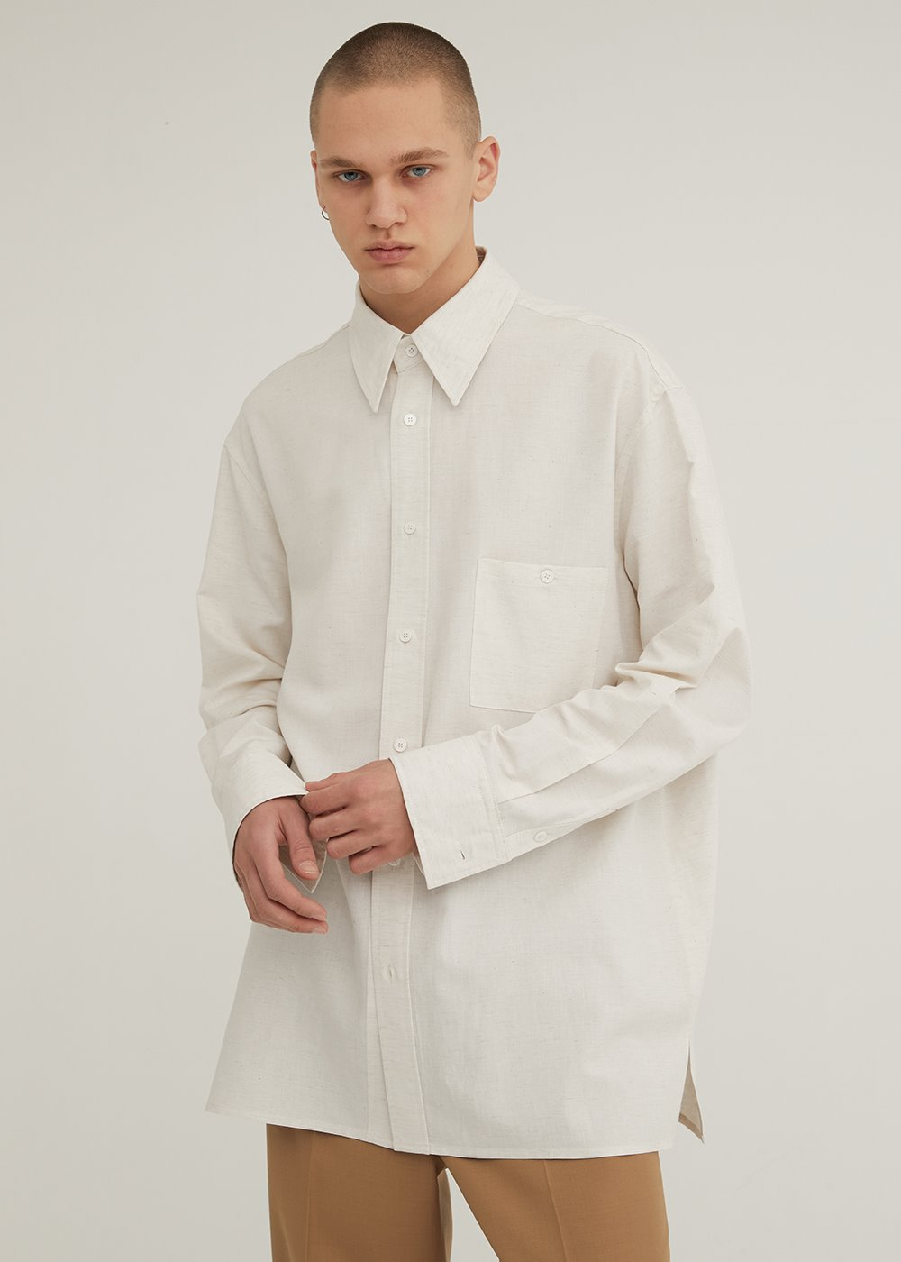 LONG SLEEVE SOFT LINEN SHIRT NATURAL