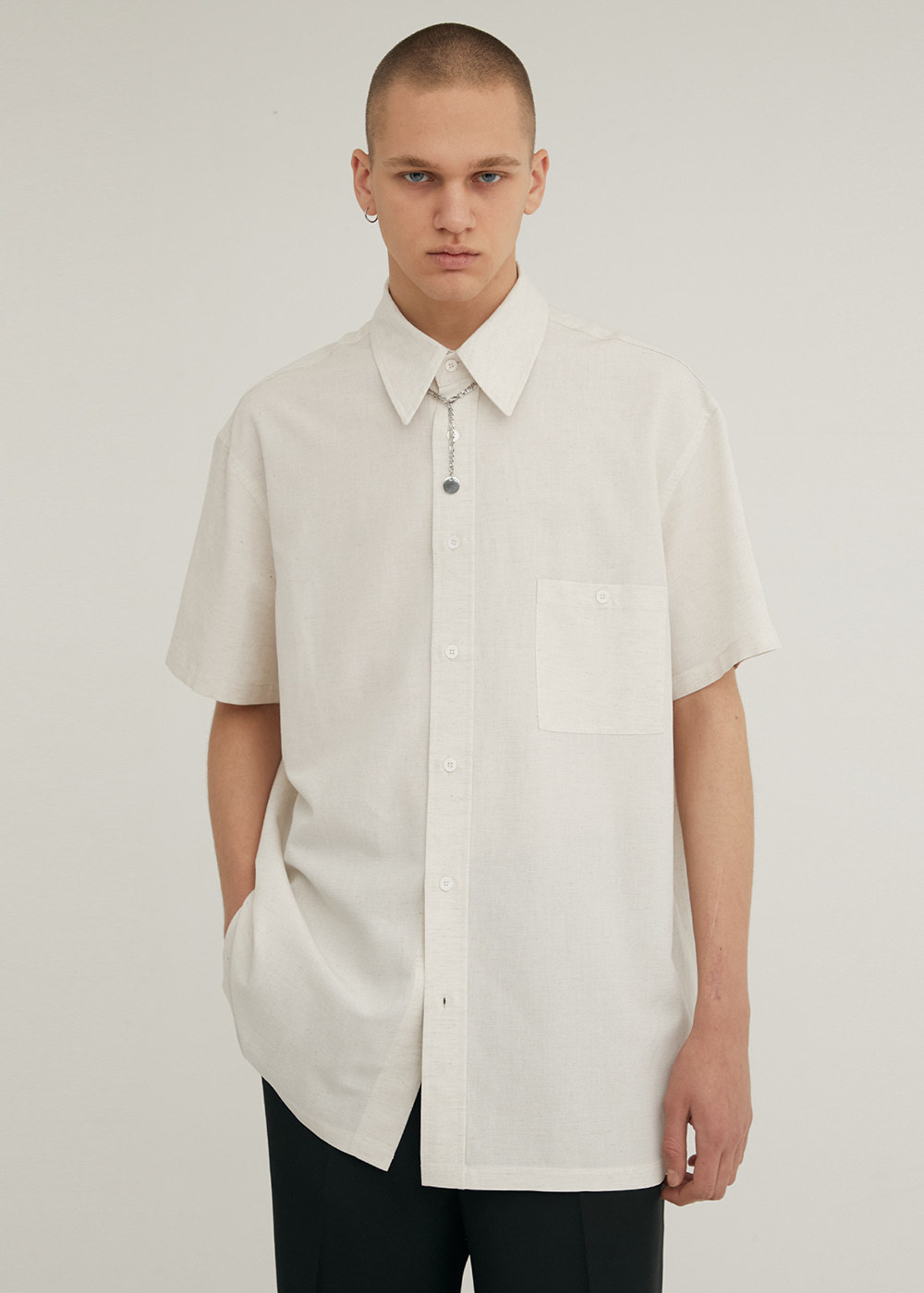 HALF SLEEVE SOFT LINEN SHIRT NATURAL