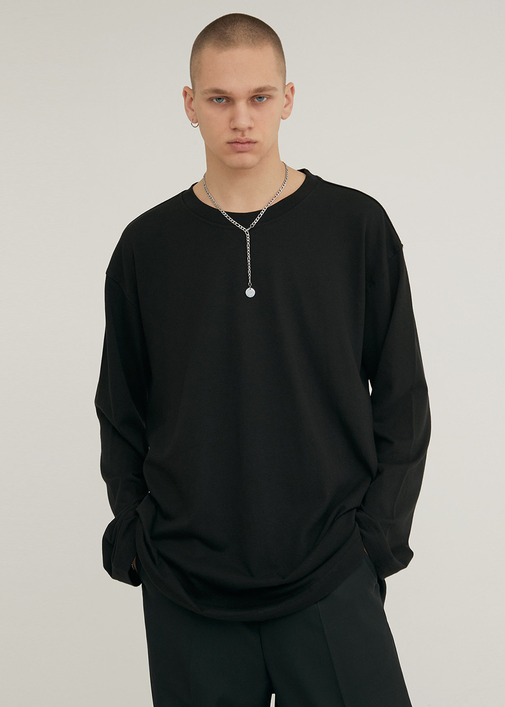 LONG SLEEVE CREW NECK T-SHIRT BLACK