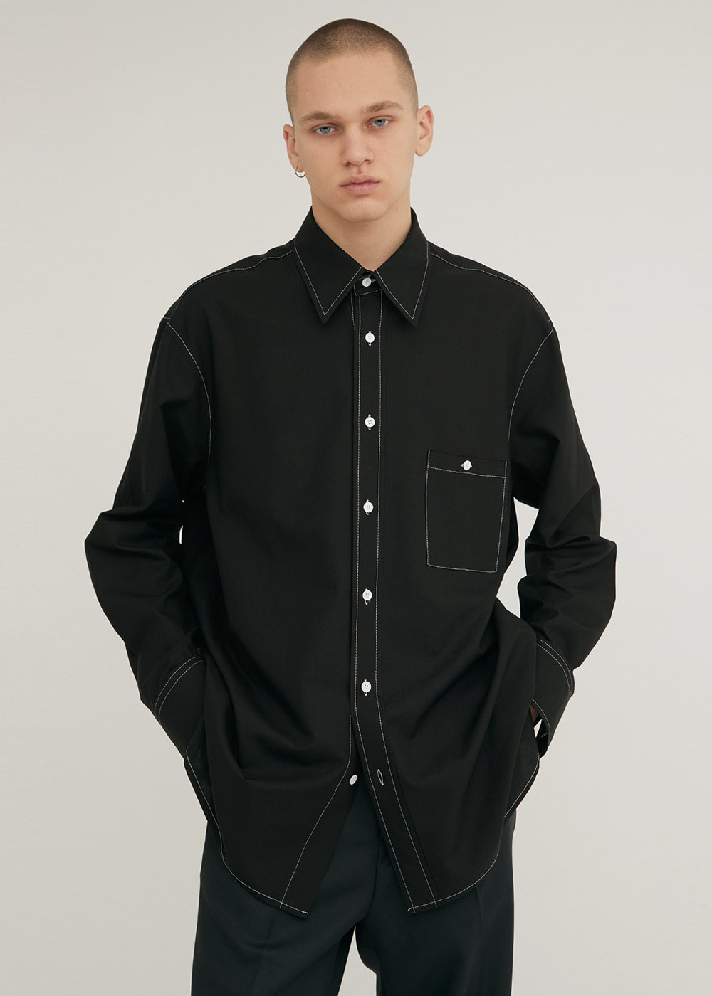 LONG SLEEVE SOFT LINEN SHIRT BLACK